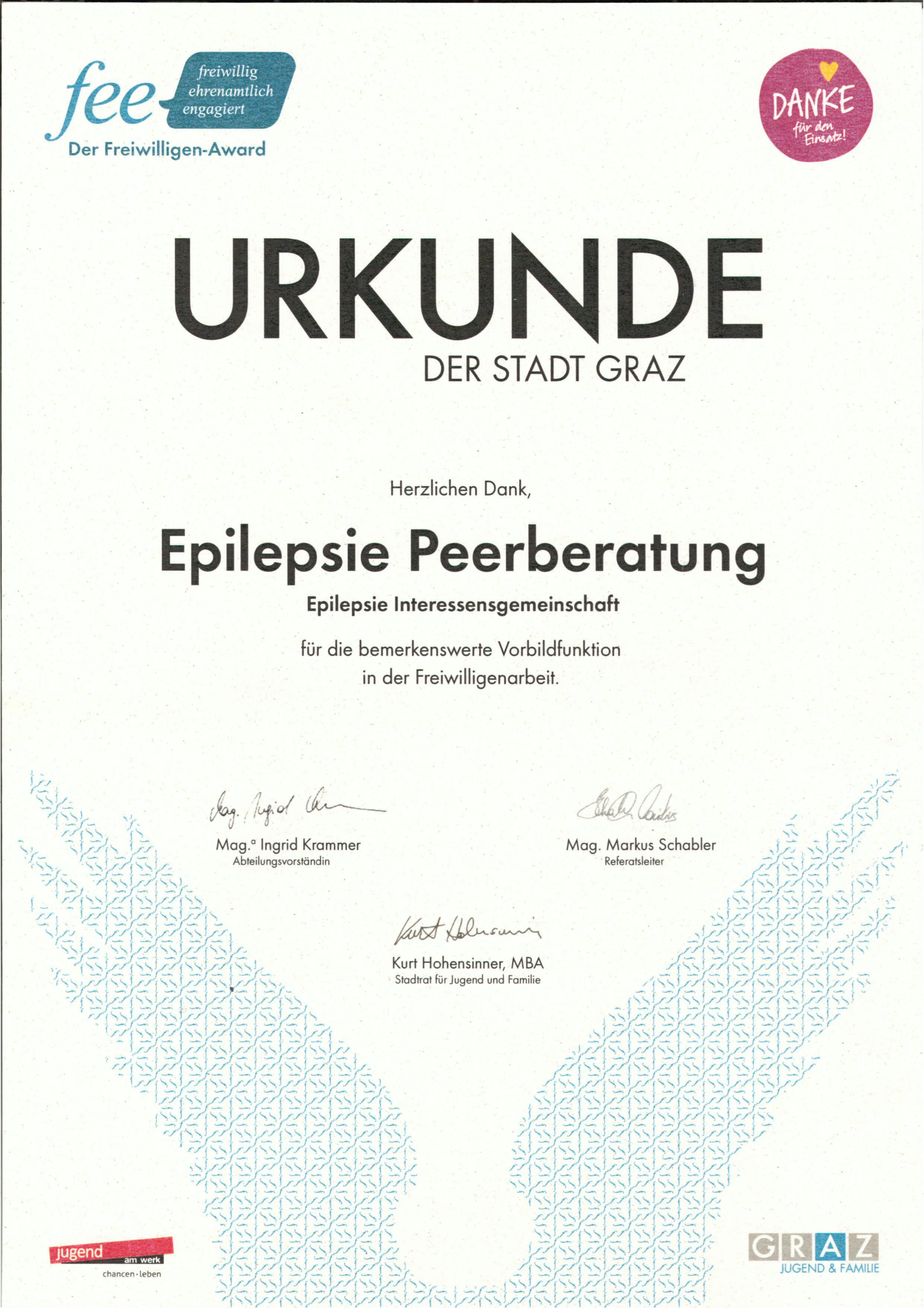 Urkunde fee Award